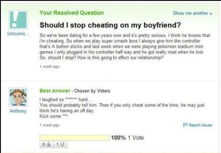 should I stop cheating on my boyfriend funny comment