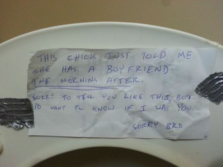 sorry bro – note in the toilet for cheated on boyfriend