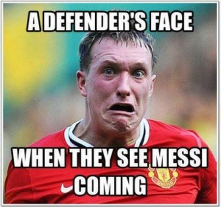 Funny  football/soccer meme – a defenser's face when he sees Messi coming