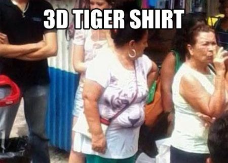 3D tiger shirt meme