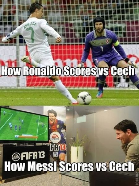 Funny  football/soccer meme -	only way messi can score against cech