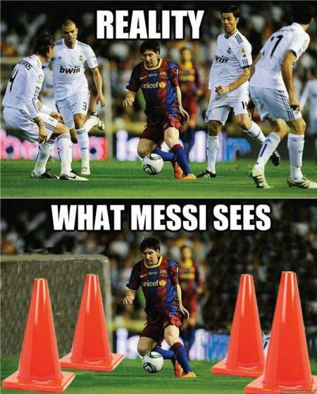 Funny  football/soccer meme -  reality versus what Messi sees