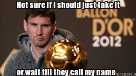Funny  football/soccer meme – Ballon d'or Messi