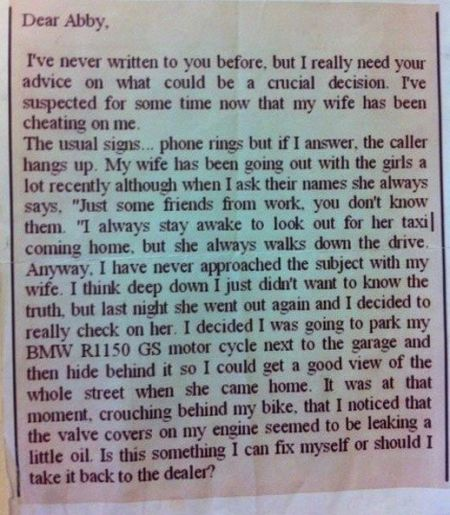 dear Abby funny letter from a husband