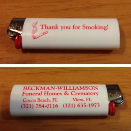 thank you for smoking funeral home lighter