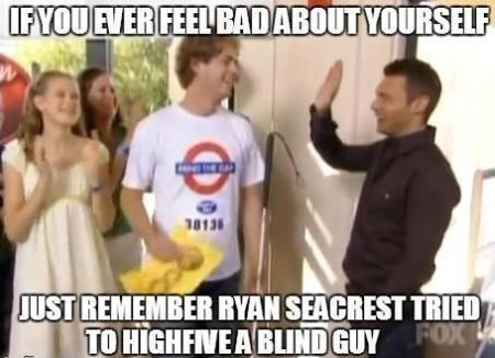 Ryan Seacrest tried to high-five a blind guy
