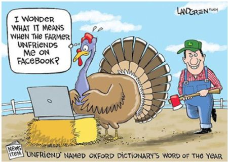 turkey unfriended on facebook thanksgiving funny
