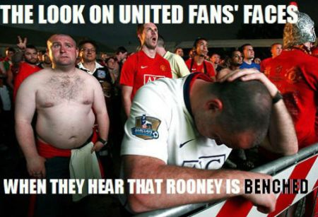 Funny  football/soccer meme -	the look on united fans face