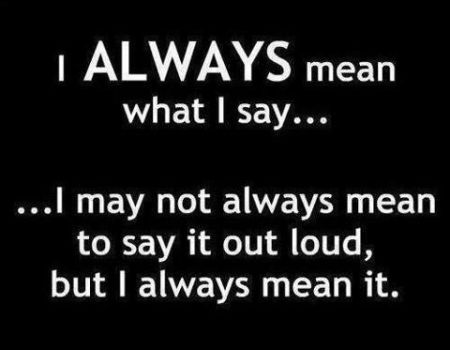 I always mean what I say funny quote