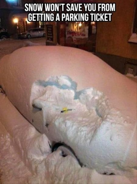 snow won't save you from getting a parking ticket