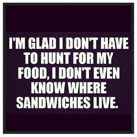 I'm glad that I don't have to hunt for my food funny