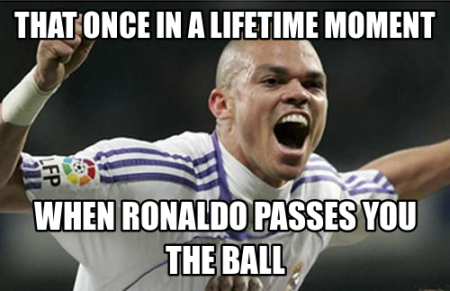Funny  football/soccer meme – when ronaldo passes you the ball
