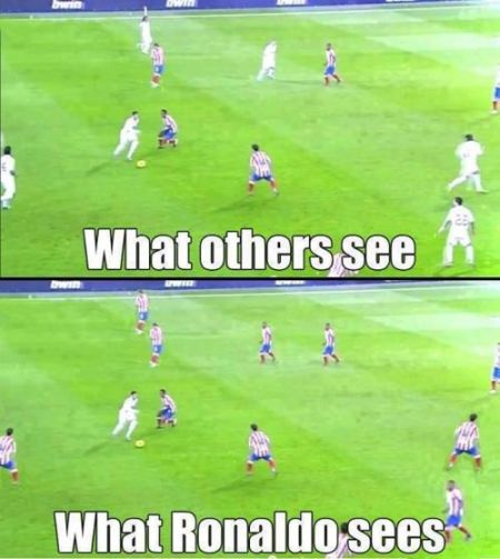 Funny  football/soccer meme -  what Ronaldo sees
