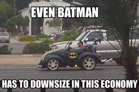 batman downsizes in this economy meme