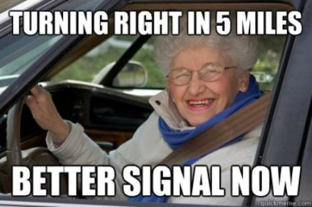 turning right in 5 miles grandma meme