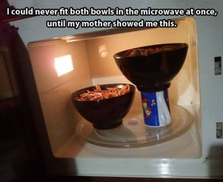 I could never fit both bowls in the microwave meme