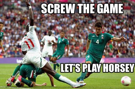 Funny  football/soccer meme – let's play horsey