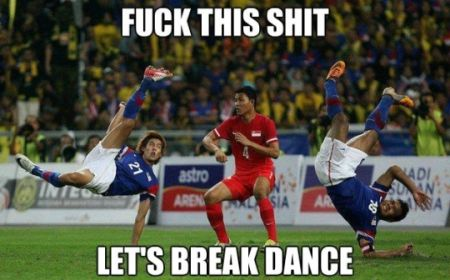 Funny  football/soccer meme -	let's break dance