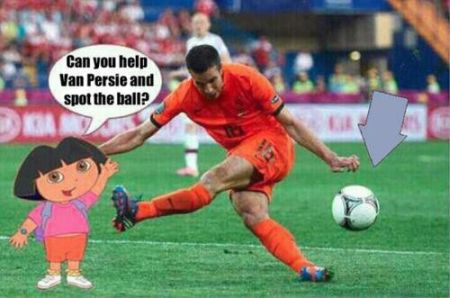 Funny  football/soccer meme – Dora and Van Persie