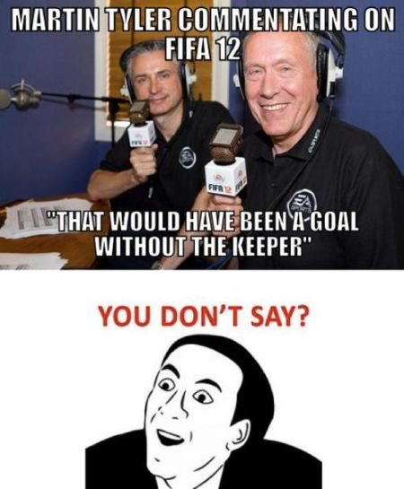 Funny  football/soccer meme – a goal without the keeper