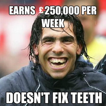 Funny  football/soccer meme – doesn't fix teeth