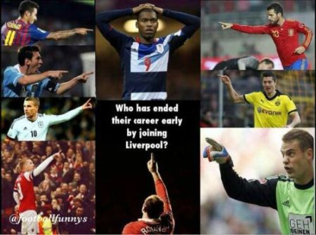 Funny  football/soccer meme – who has ended their career by joining liverpool