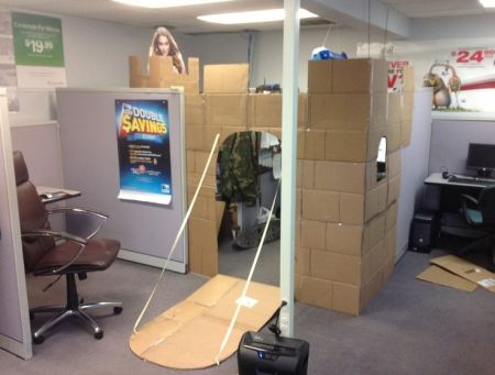 office cardboard castle