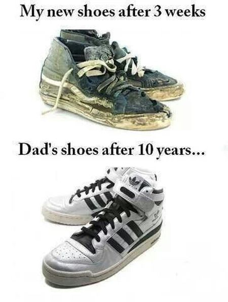 My new shoes versus my dad's new shoes at PMSLweb.com