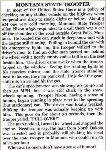 Montana state trooper story - Thursday funnies at PMSLweb.com