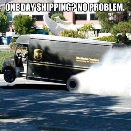 UPS one day shipping meme at PMSLweb.com