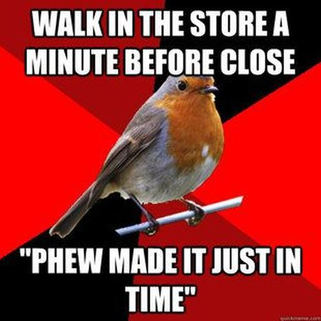 Walks in a store one minute before it closes at PMSLweb.com