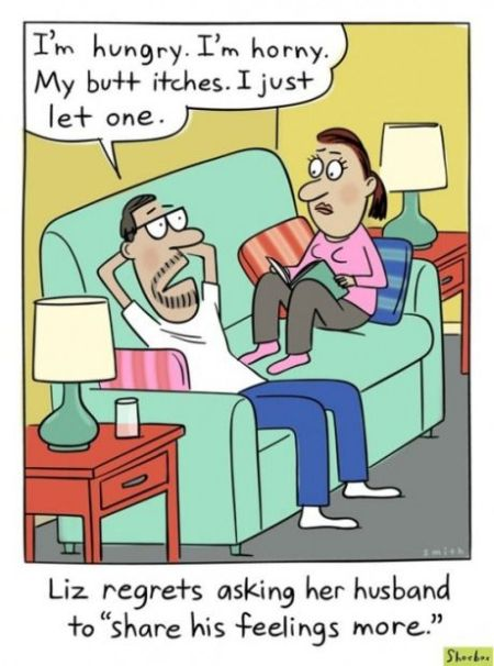 Husband sharing feelings cartoon - Funny picture at PMSLweb.com