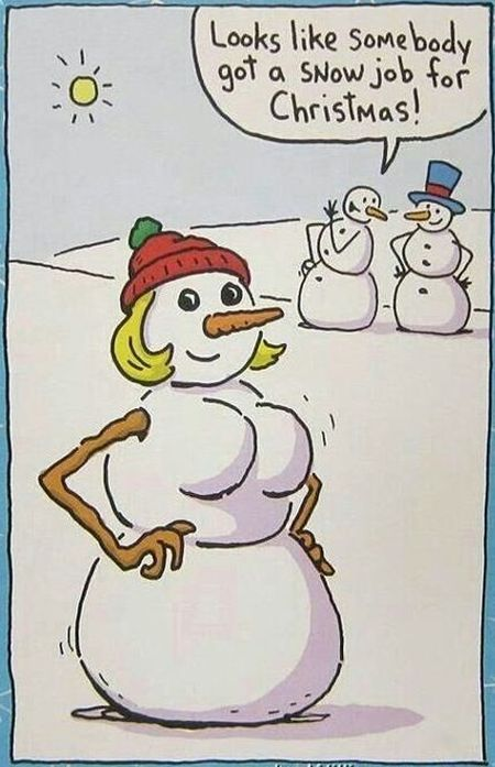 Somebody got a snowjob at Christmas - Christmas funnies at PMSLweb.com