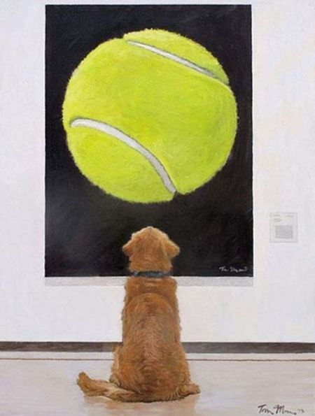 Dog admiring art cartoon - Funny picture at PMSLweb.com