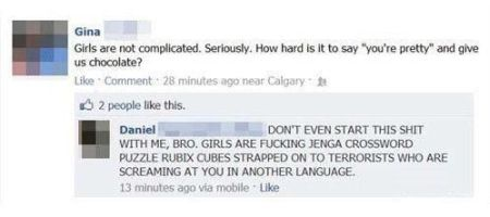 Girls are not complicated funny comment at PMSLweb.com