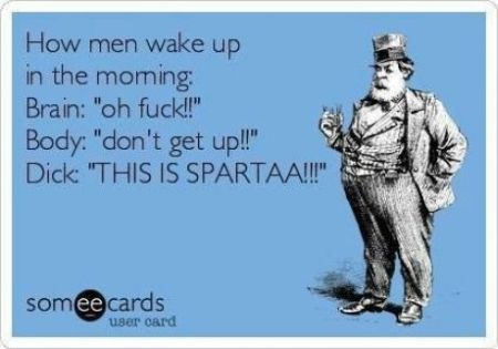 how men wake up ecard - Sunday funnies at PMSLweb.com