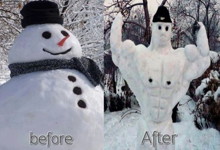 snowman before and after - Christmas funnies at PMSLweb.com