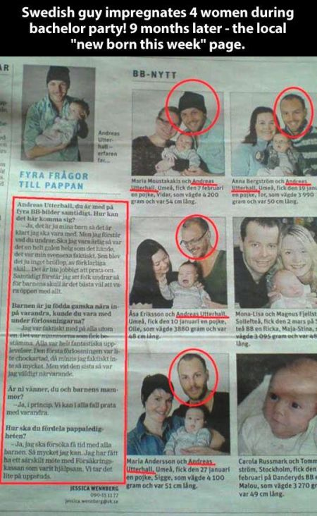 Swedish man impregnates 4 women - Thursday funnies at PMSLweb.com