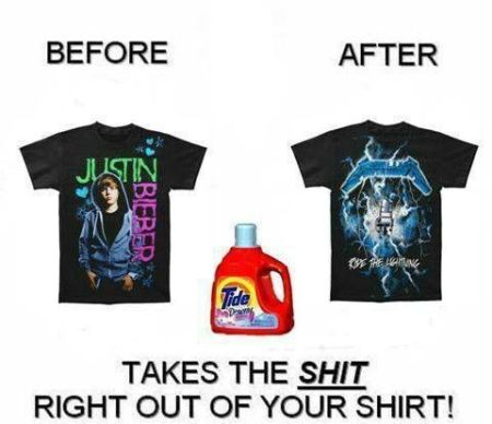 Before and after Justin Bieber T-shirt humor at PMSLweb.com