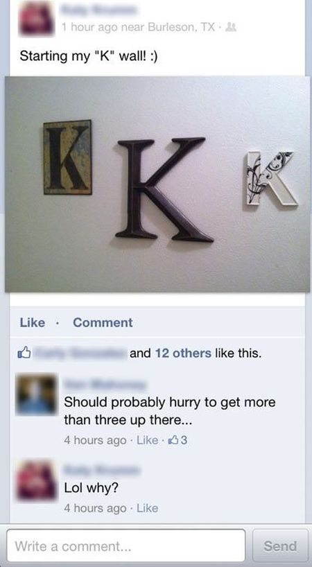 My K wall facebook comment at PMSLweb.com