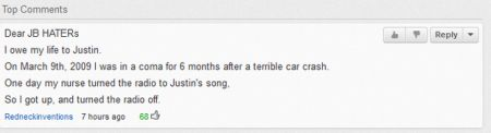 Dear Justin Bieber haters funny comment at PMSLweb.com