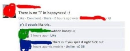 No I in happiness Facebook comment fail at PMSLweb.com
