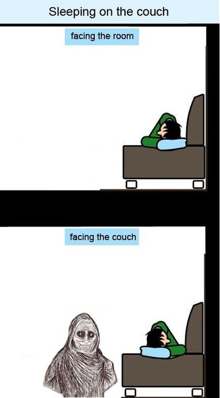 Sleeping on the couch meme at PMSLweb.com