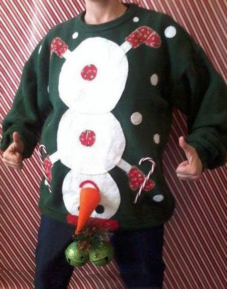 Naughty snowman jumper - Christmas funnies at PMSLweb.com