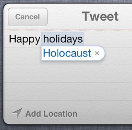 Happy Holocaust twitter autocorrect at PMSLweb.com