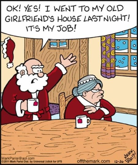 Santa Claus in trouble with wife - Christmas funnies at PMSLweb.com