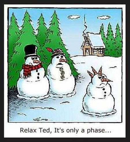 Snowmen family humor - Christmas funnies at PMSLweb.com