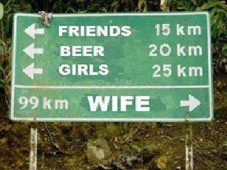 Funny husband road sign at PMSLweb.com
