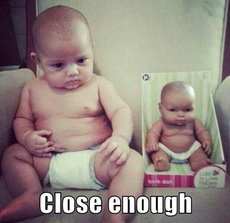 Baby and doll close enough – Funny Sunday pics at PMSLweb.com