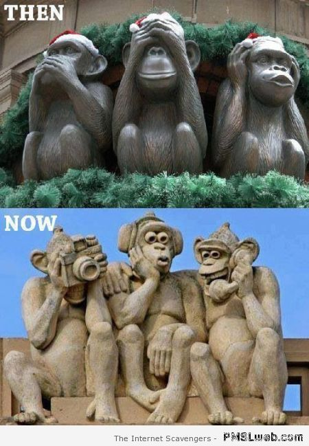 Three wise monkeys then and now meme at PMSLweb.com